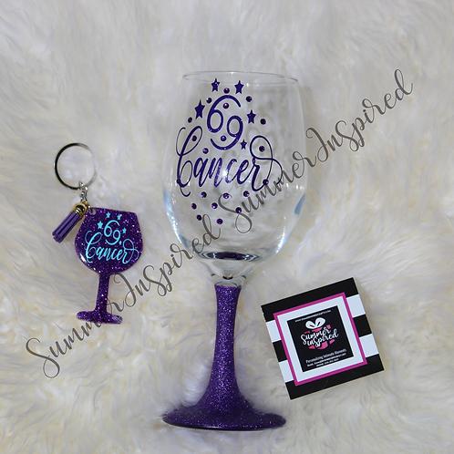 Cancer Zodiac /Astrology Wine Glass & KeyChain Set