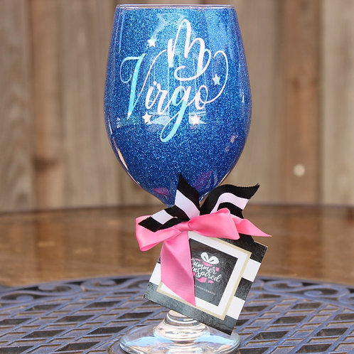 Handcrafted Zodiac Designed Glitter Wine Glass - VIRGO