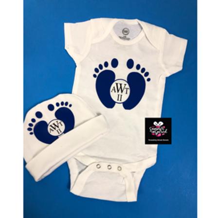 Customized Baby Onesie & Hat Set Baby Shower Gift Set Customized Set