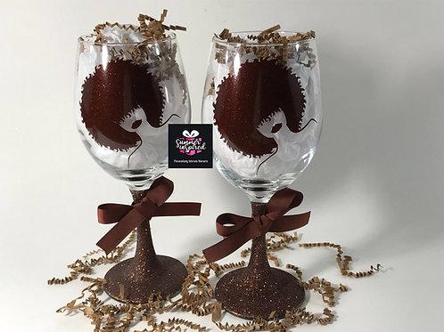 Chocolate Diamond Glitter Wine Glass Set - Custom Wine Glasses