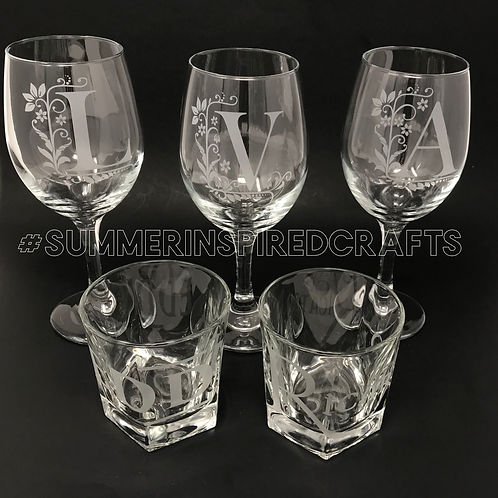 Monogram Letter - Chic n' Classy Etched Stemware