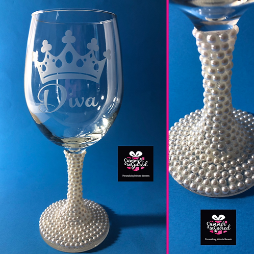 Classy Etched Wine Glasses with Pearl Stem