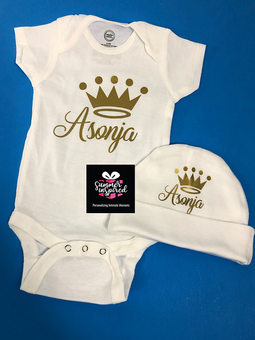 Customized Baby Onesie & Hat Set|Baby Shower Gift Set|Customized Baby Gift Set