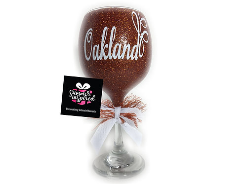 Personalized Decorative Glitter Wine Glass - Topaz