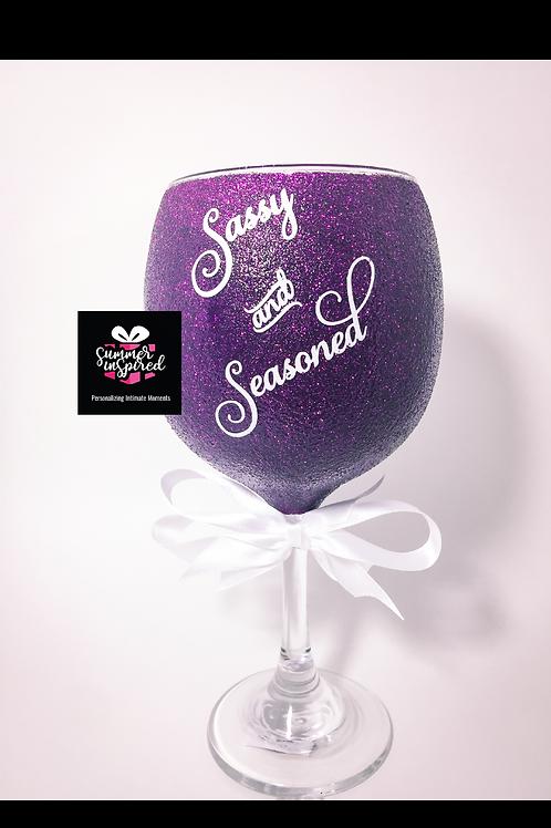 Decorative Glitter Wine Glass - Sassy & Seasoned