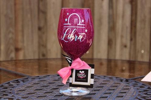 Handcrafted Zodiac Designed Glitter Wine Glass -LIBRA