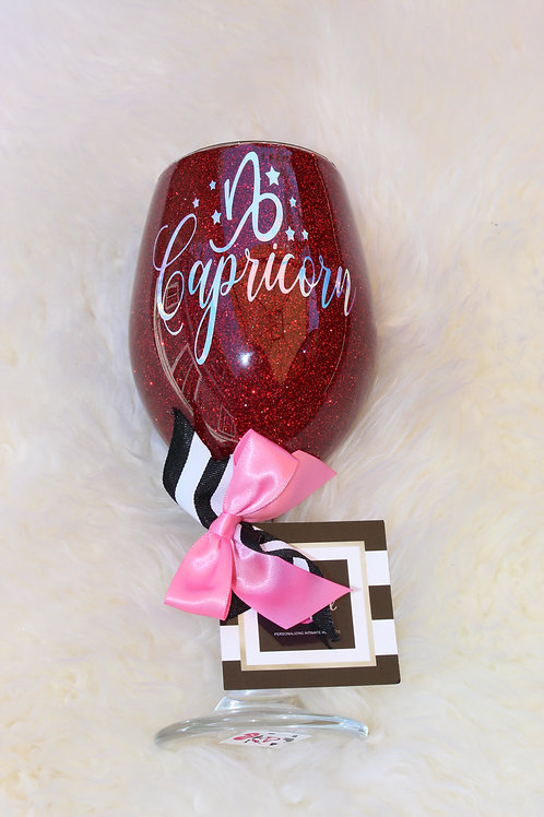 Handcrafted Zodiac Designed Glitter Wine Glass - Capricorn