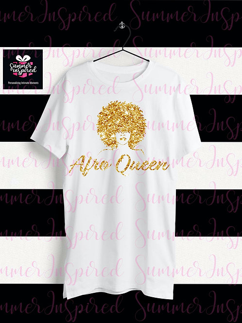 Glitter HTV Afro Queen T-Shirt
