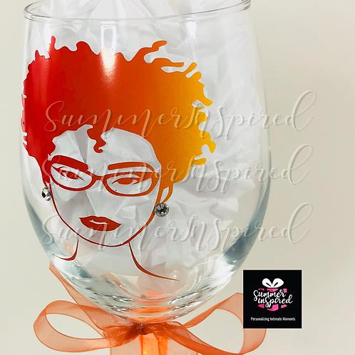 Custom Wine Glass - Nubian Beauty#34