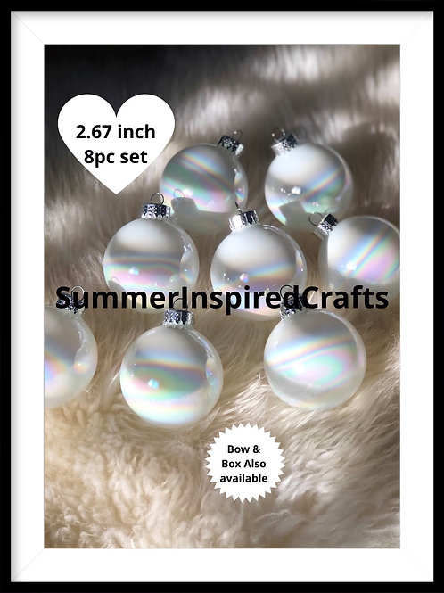 Customizable  Iridescent Christmas Glass Ornaments - Hand Crafted