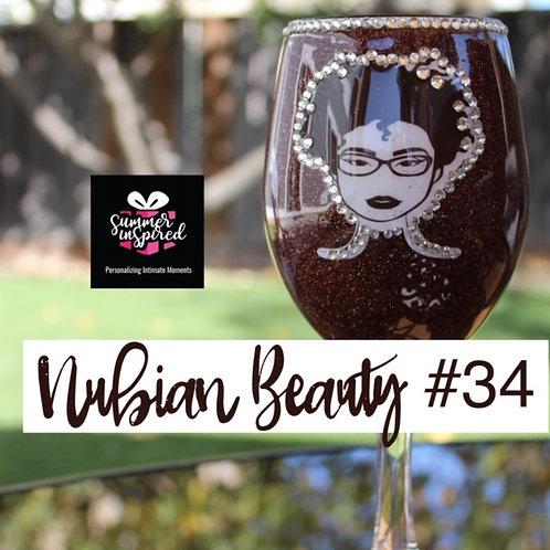 Glitter Wine Glass - Nubian Beauty #34
