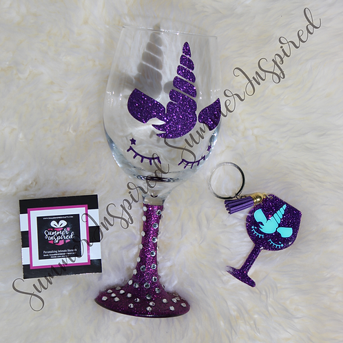 Unicorn Wine Glass w/Bling & Matching Key/Purse Chain