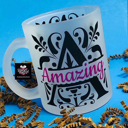 """Amazing"" 11oz Frosted Glass Mug - Drinkware"