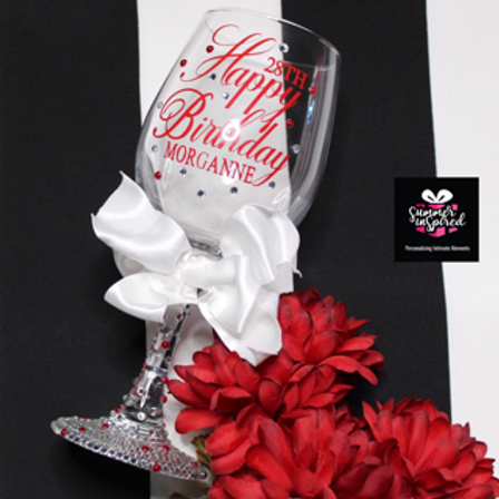 Custom Wine Glass With Rhinestones