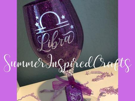 20oz Zodiac Glitter Wine Glass