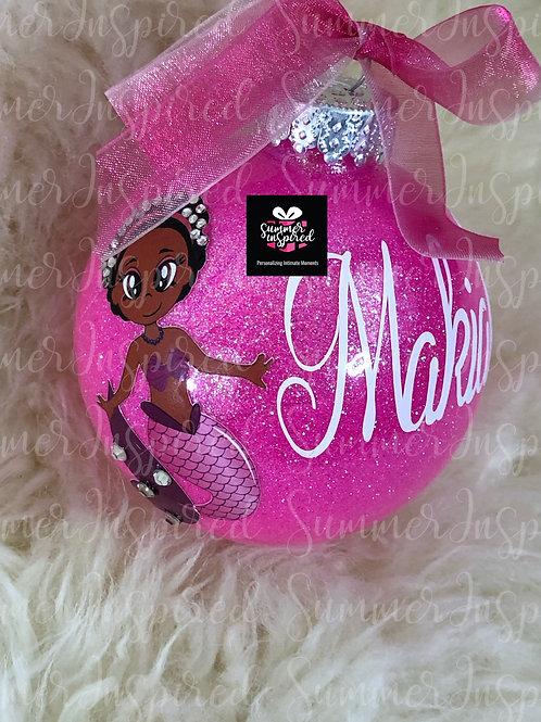 Custom Glitter Little Chocolate Mermaid Ornaments
