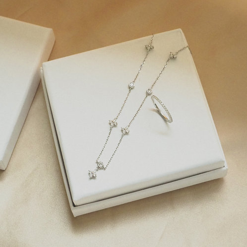Gift Set F(The Clover Silver Necklace & Anelli Silver Ring)