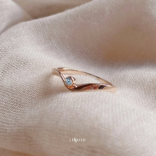 Aqua Blue Ribbon Rose Gold Ring