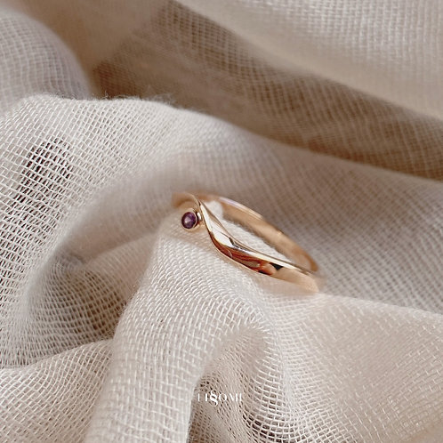 Amethyst Ribbon Rose Gold Ring