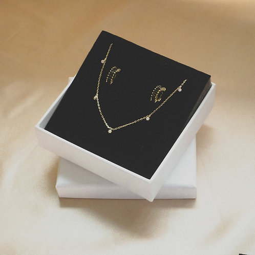 Gift Set A ( Starry Night Gold Necklace & Black Lutter Earrings)