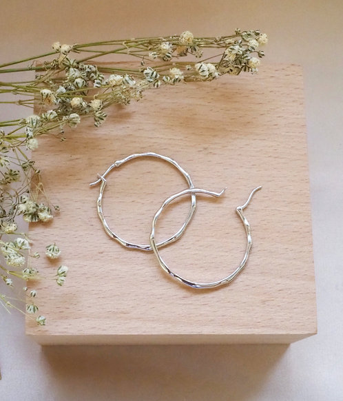 Perfect Imperfection Silver Hoops
