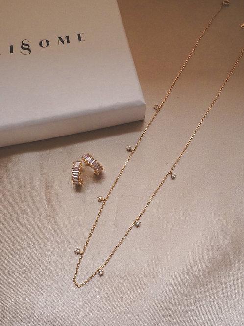 Gift Set C ( Starry Night Gold Necklace&Lavender Lutter Earrrings)
