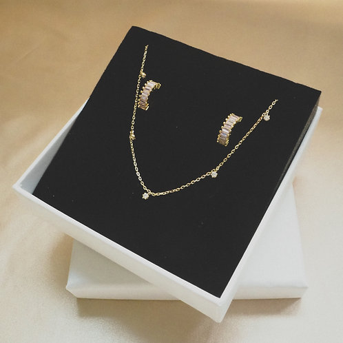 Gift Set B ( Starry Night Gold Necklace&Pink Lutter Earrings)