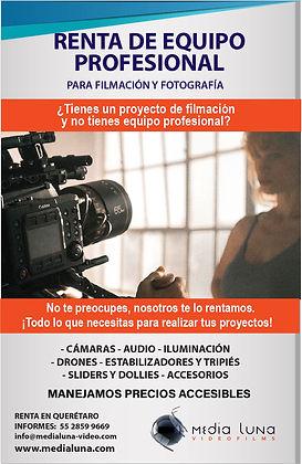 RENTA EQUIPO PARA FILMACION Y FOTOGRAFIA