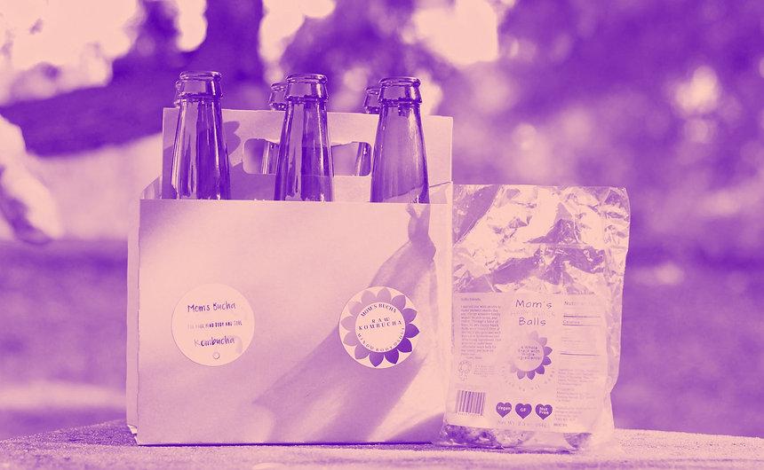 Purple overlay image of Mom's Bucha Kombucha products