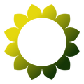 Green and yellow flower circle