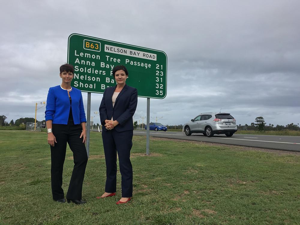 Kate Washington MP and Jodi McKay MP at Nelson Bay Road