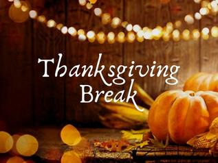 Reminder: We are closed Nov. 23 - Nov. 27 for Thanksgiving Break!