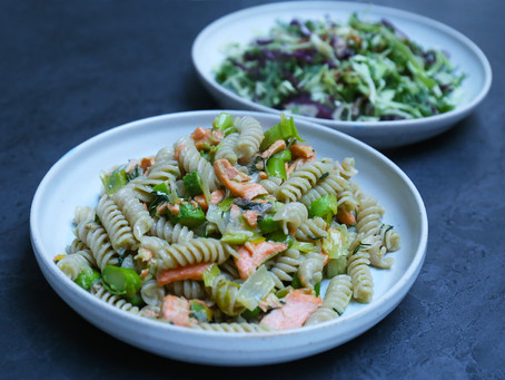 Loch trout, Leek and Seasonal Asparagus Pasta with Avocado cream and Dill - deliciously healthy.