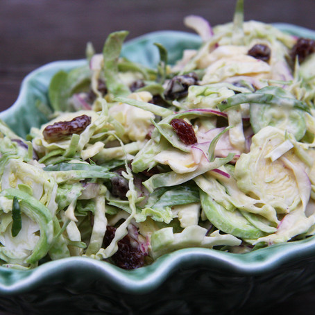 Brussel Sprout Christmas Coleslaw - great with turkey or tempeh!