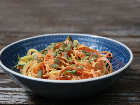 Spiralised Creamy Curly Carrot and Courgetti
