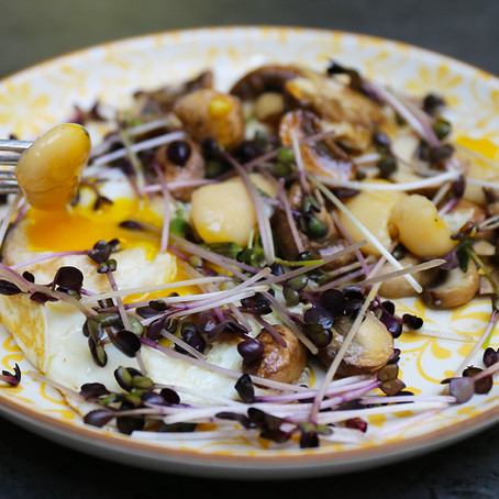 Healthy breakfast recipes - Slow fried egg, with mushrooms and butterbeans, boosted with microgreens