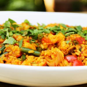Paella style healthy summer rice