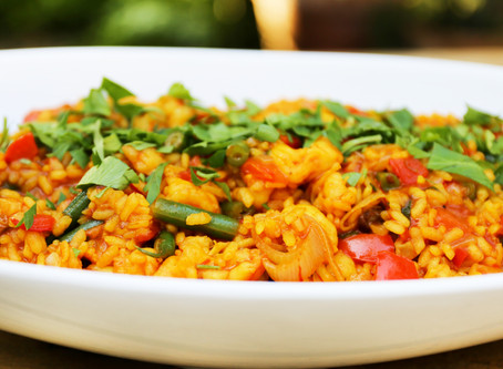 Paella style healthy summer rice