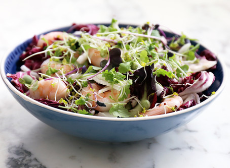 Leafy Prawn salad with red cabbage 'rice'