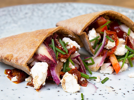 Goat's cheese and mediteranian veg GF lunch pittas with - nourishing, light and delicious.