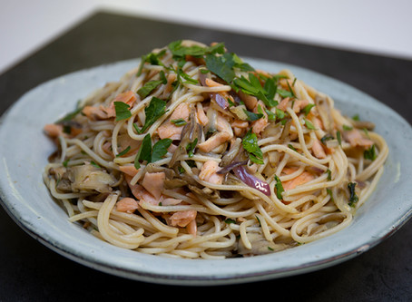 Salmon and Oyster Mushroom GF Spaghetti - utterly delicious!