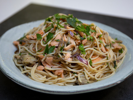 Salmon and Oyster Mushroom GF Spaghetti - utterly delicious!