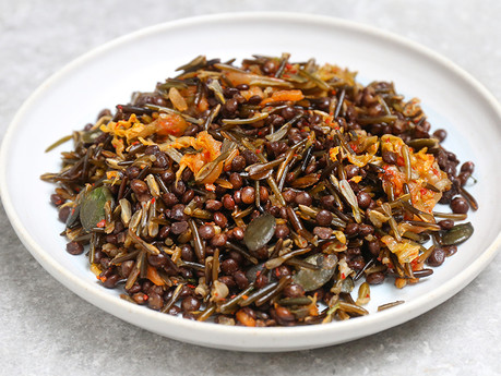 Gut Healthy Wild Rice and Kimchi with Puy Lentils - delicious gut medicine