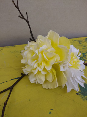 Yellow peony and dahlia