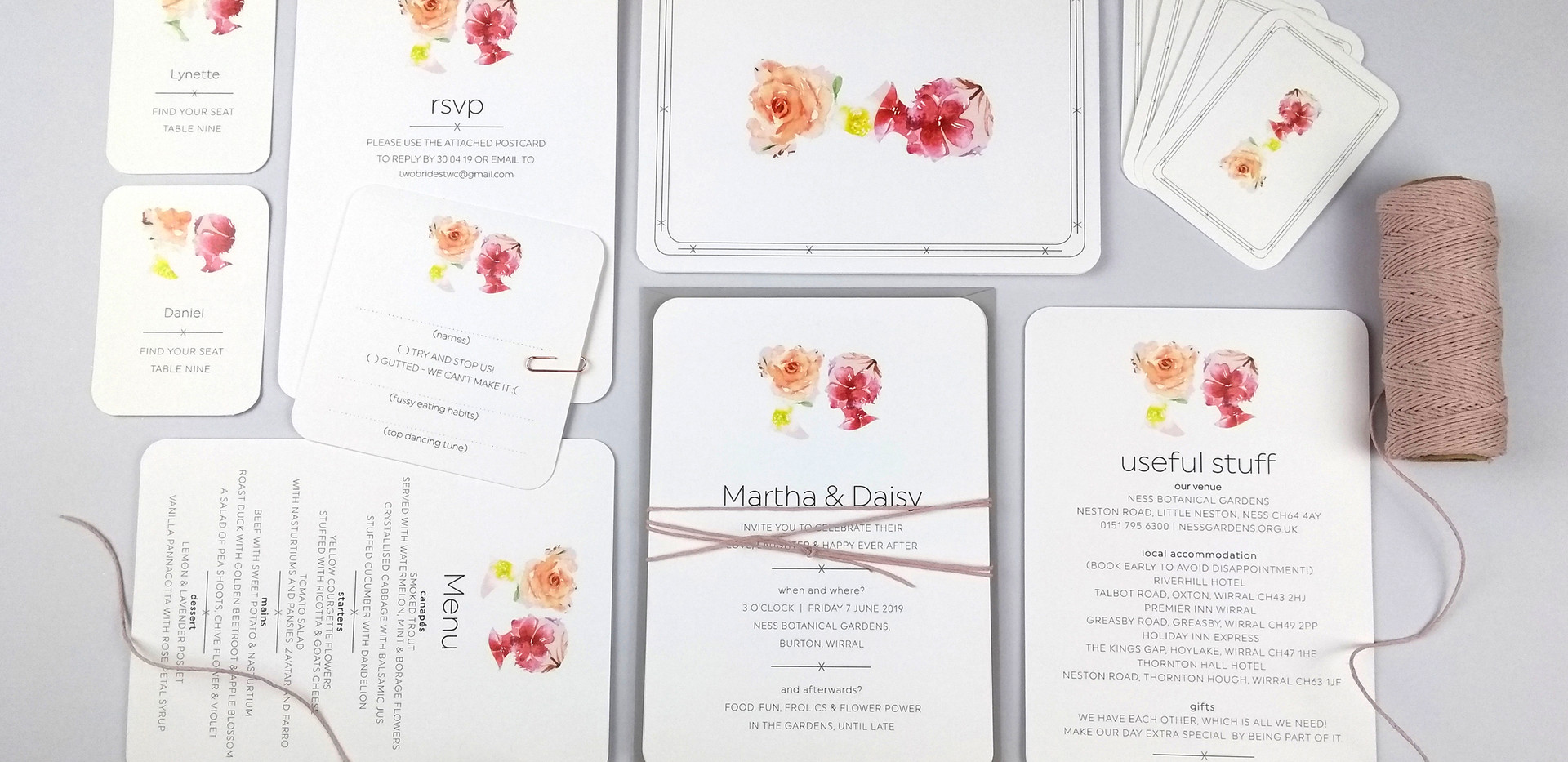 Daisy and Martha's playing card invitation