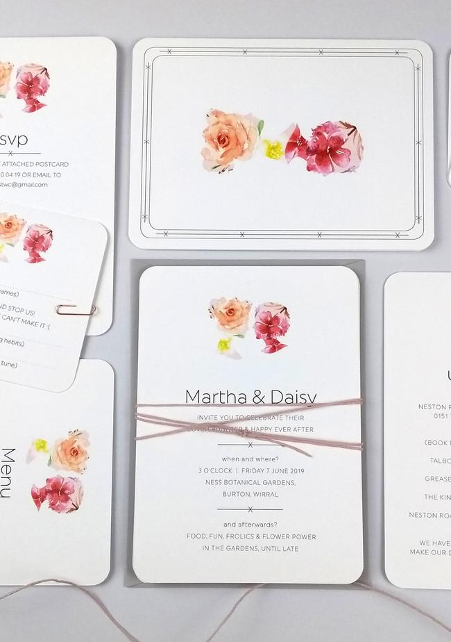 Daisy and Martha's playing card invitation