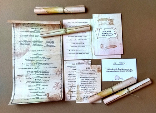 Fun on the day stationery for a wedding with a piratical theme