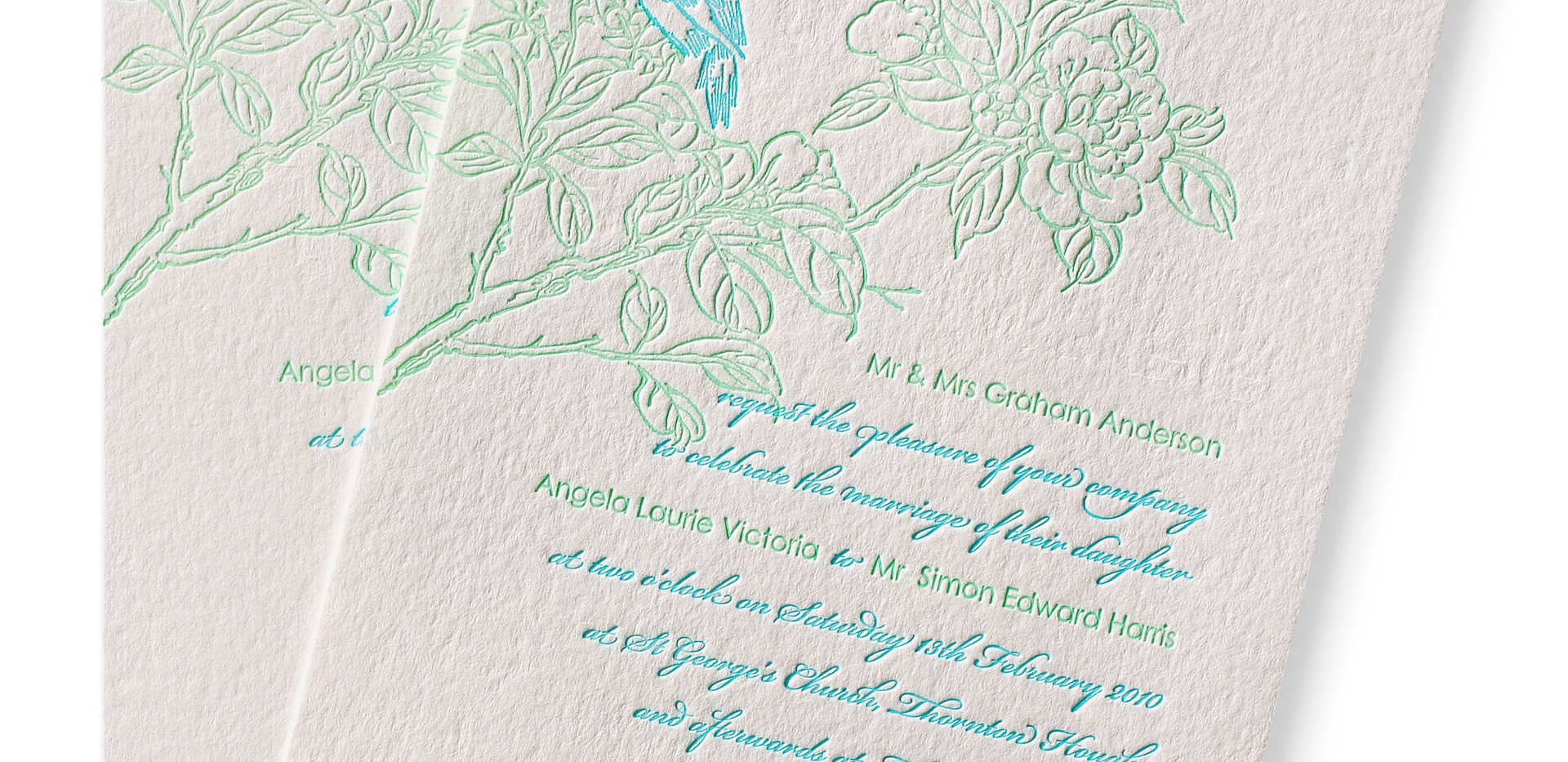Letterpressed lovebirds
