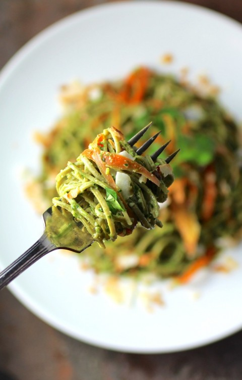 Edamame-Spaghetti-with-Kale-Cilantro-Pesto-recipe-on-ShockinglyDelicious.com-blog-480x752