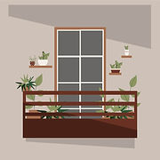 Vector illustration of modern balcony decorated with green leaves
